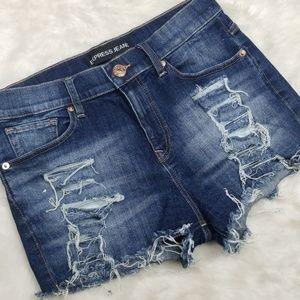 Express distressed denim shorts